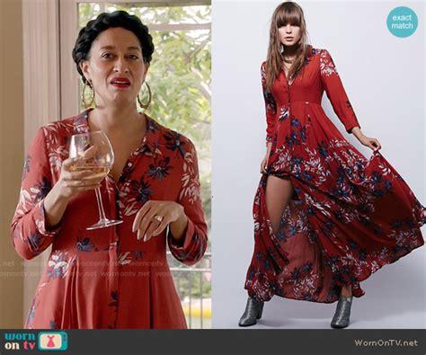 tracee ellis ross on blackish wornontv rainbow s red floral maxi shirtdress on blackish