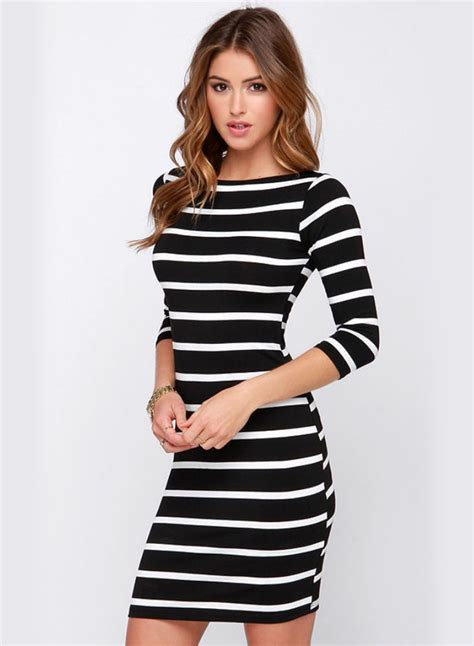 Striped Sleeve Dress 3 4 sleeve striped slim fit dress novashe