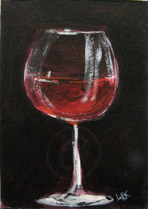 wine glass painting wine glass painting wine original aceo acrylic