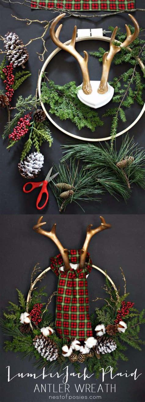 deer antlers and plaid for christmas 26 most beautiful diy wreaths diy