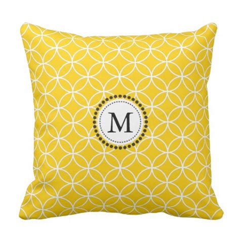 lemon yellow monogram throw pillow zazzle