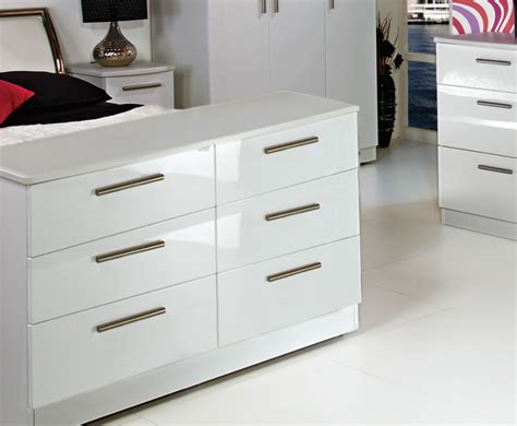 High Gloss Drawers by 6 Drawer Wide White High Gloss Chest Assembled