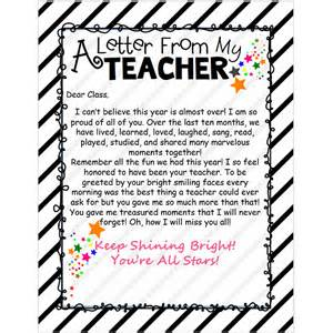 Thank You Letter To Teacher At The End Of Year End Of The Year Letter From My Teacher Editable