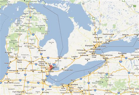 map detroit michigan usa detroit michigan map