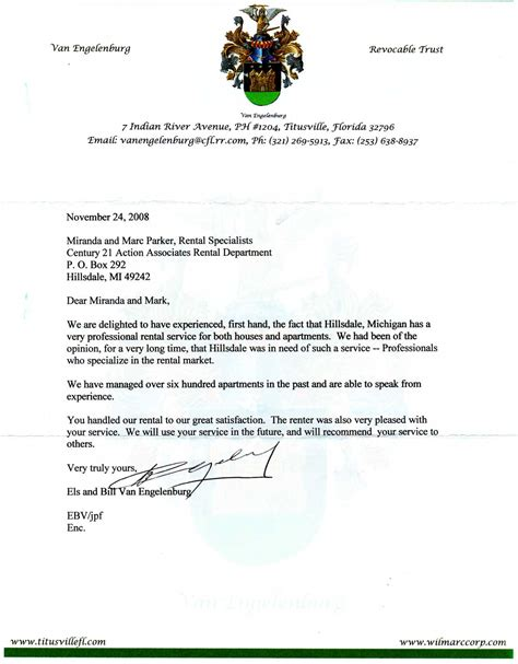Hillsdale College Letter Of Recommendation Letter Of Recommendation Hillsdale Rental Management
