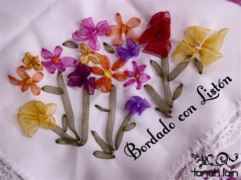 como hacer bordados con flores de liston como hacer flores de liston para bolsas manta bondeada