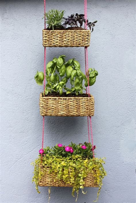dishfunctional designs hanging basket herb garden diy small space garden hacks thethings