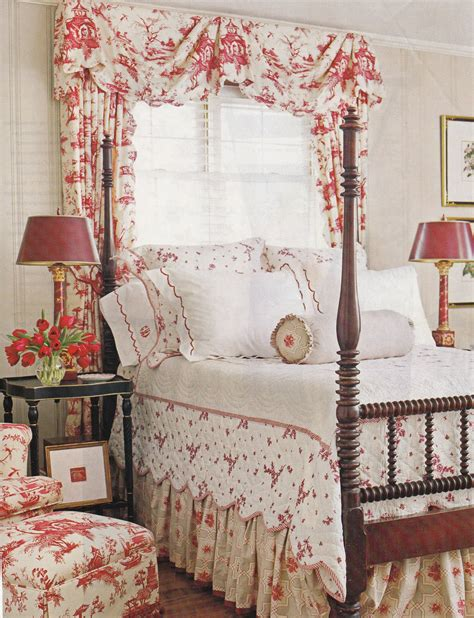 toile bedroom cottage red toile bedroom country french pinterest