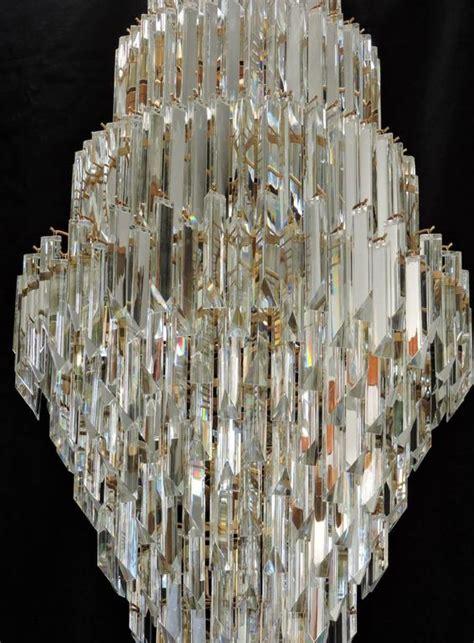 glass prism chandelier mid century modern murano glass prism and brass foyer