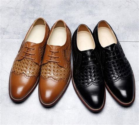 woven patched brogue formal dress shoes fanfreakz