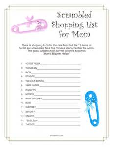 list of baby shower games 2015