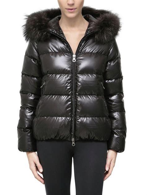 Duvet Feather Down Duvetica Adhara Fur Hood Shiny Nylon Down Jacket In Black