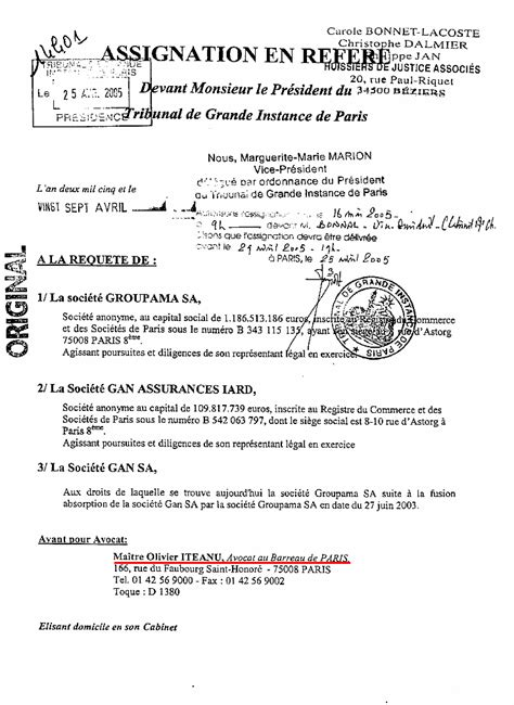 Exemple De Lettre Tribunal De Grande Instance modele assignation refere tgi document