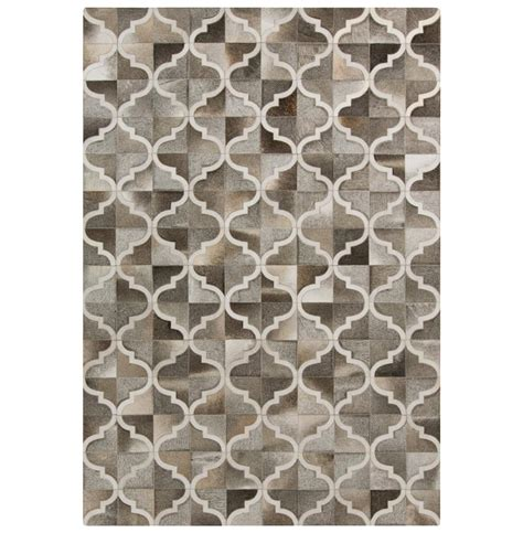 zaveri global bazaar quatrefoil beige grey cowhide rug