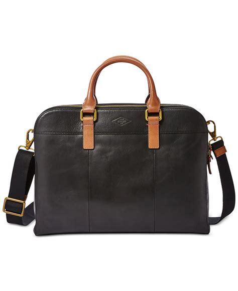 Fossil Black L lyst fossil l mercer zip work bag in black for