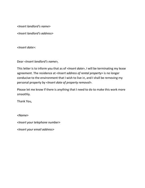 termination letter format for lease termination letter archives sle letter