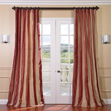 tan and red curtains red golden tan striped faux silk taffeta curtain panel