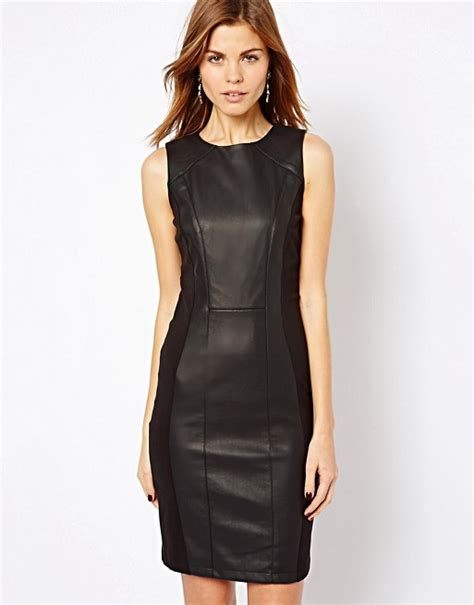 Dress Sabrina Emina Fit Xl warehouse warehouse faux leather and ponte dress