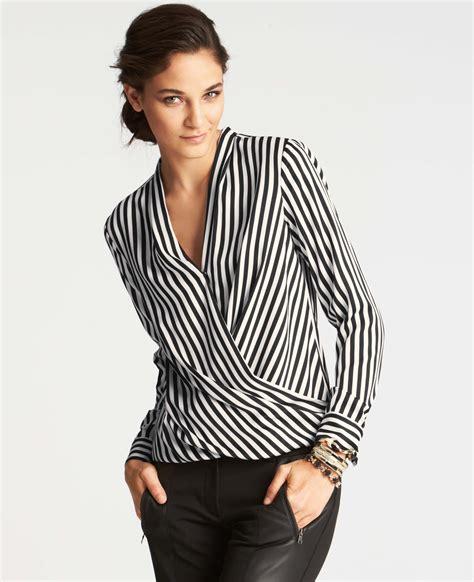 blouse stripe striped wrap blouse clothing