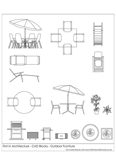 Free CAD Blocks   Outdoor Furniture   First In Architecture