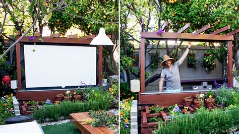 how to make a backyard movie theater show thyme how to build an outdoor theater in your garden