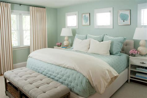 seafoam green bedroom features lovely coastal design hgtv