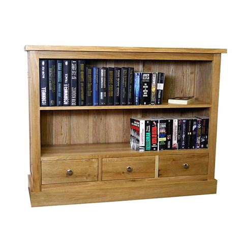 50 small low solid oak bookcase with drawers glenmore