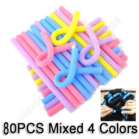 Bendy Hair Roller Sponge Isi 6 free shipping wholesale mix 80pcs lot 4colors hair curler makers soft foam rollers bendy twist