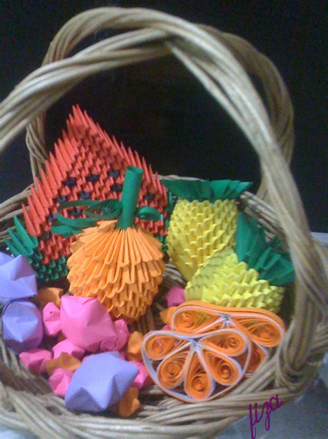 Paper Basket Origami - paper quilling origami
