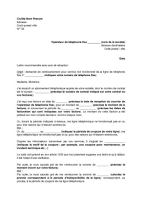 Lettre Résiliation De Ligne Téléphonique Demande Ligne Telephone Fixe Application