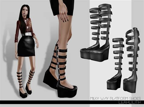sims 4 platform heels leah lillith s leahlillith millky way platform shoes