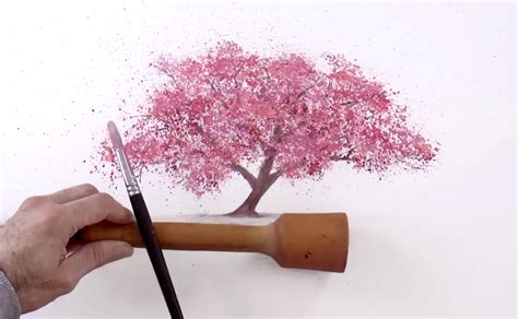 cherry blossom tree l watercolor technique to splatter cherry blossom trees