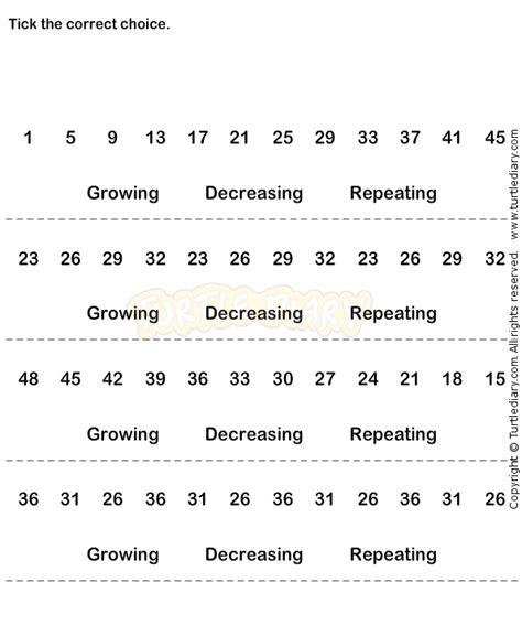 pattern sequence test number sequence worksheet 13 math worksheets grade 1