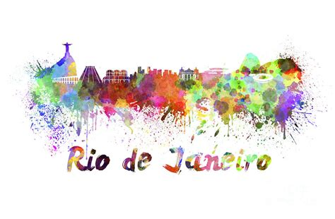 watercolor tattoo rio de janeiro de janeiro skyline in watercolor painting by pablo romero