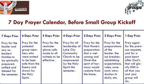 Calendar 7 Days 7 Days Of Prayer Before Kick Lake City Small Groups