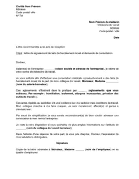 Exemple Lettre De Demission Suite Harcelement Moral modele lettre de demission medecin