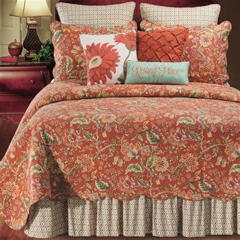 rust bedding adele jacobean floral rust quilt bedding