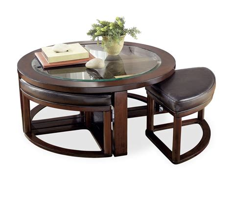 coffee table with 4 ottomans marion round coffee table with 4 stools hom furniture