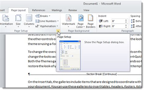 word 2007 insert section break how to disable page setup in excel 2007 where is fit to