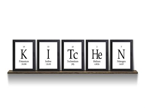 kitchen periodic table framed 5 wall plaque set each