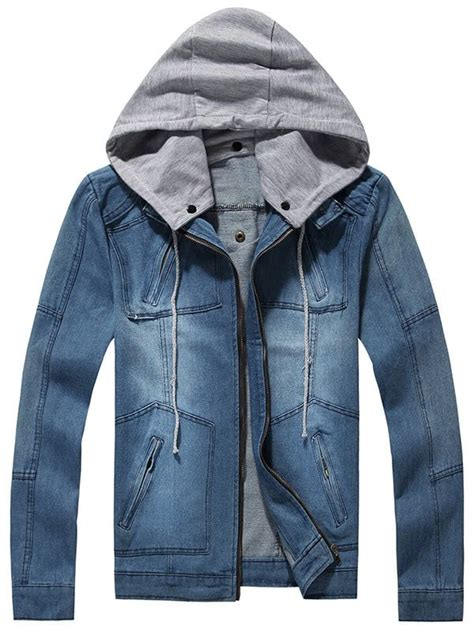 Jakethoodiee Zippersweater Rf jackets blue l zip up pockets detachable denim jacket gamiss