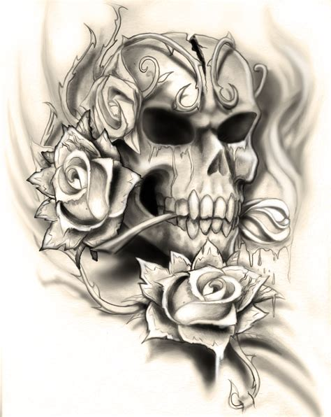 tattoo skull and roses ssckull designer pencil and in color ssckull