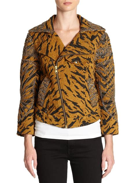 Jkt Jaket Hoodie Cat Meow A Limited Edition free cats meow tiger print embellished jacket lyst