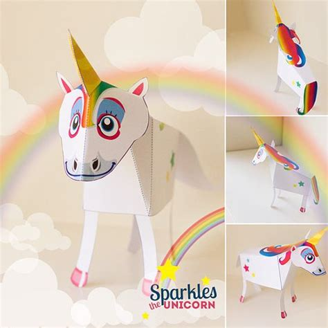 Unicorn Papercraft - unicorn paper favor printable diy paper