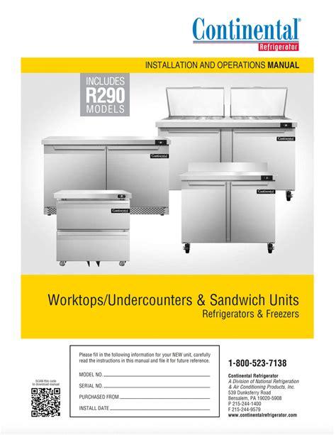 operation manuals continental refrigerator