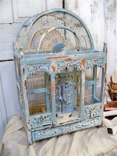 large ornate carved wood birdcage hand painted french blue distressed shabby chic home decor