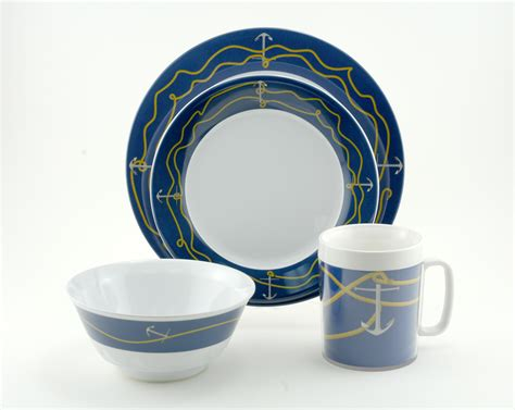 boat dinnerware set coastal melamine dinnerware nautical non skid melamine