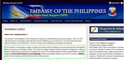 Philippine Embassy Invitation Letter hahpiness philippine embassy invitation letter