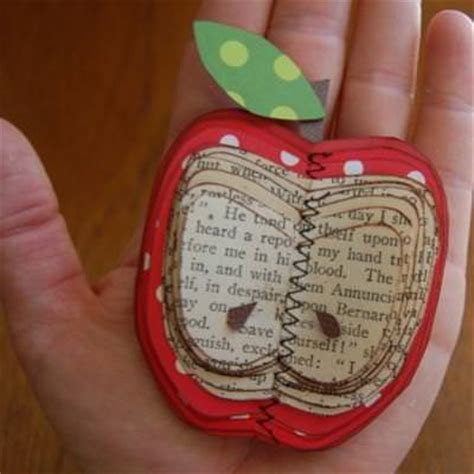 Book Paper Crafts - make an apple out of book paper craft idea tip junkie