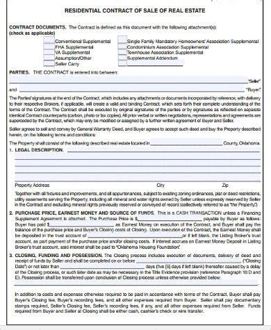 sample real estate contract forms   word